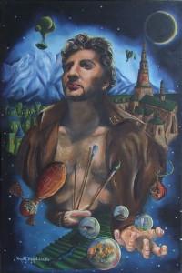 """""""Cztery żywioły apokalipsy-autoportret""""  40x60cm Kolekcja prywatna"""