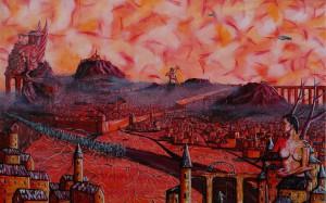 """""""Przemarsz armii przez miasto Barbatosa""""  50x80cm"""