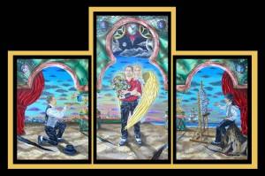"""""""Tryptyk-daru i wizji"""" formaty: 50x70cm, 100x50cm, 50x70cm  Kolekcja prywatna"""