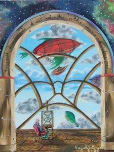 """""""Zaczarowane okno, starego czarodzieja""""  30x40cm"""