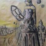 """""""Der Gesandte des Spinnennetzes"""" (Zeichnung, Format 43x60cm"""