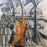 """""""Das Flammtango"""" (Zeichnung, Format 43x60,5cm"""