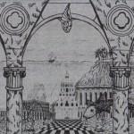 """Podwodna Atlantyda"" studium do obrazu (rysunek, format: 100x25 cm"