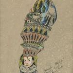 """Die versunkene Atlantis"""" (Zeichnungsstudie 2, Format 100x70cm"""