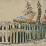 """""""Die versunkene Atlantis"""" (Zeichnungsstudie 5, Format 60x40cm"""