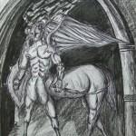 """Brama centaurów"" (rysunek format: 50x70cm"