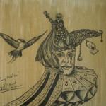 """""""Harlekins Zaubertricks"""" (Zeichnung, Format 54x58cm"""