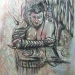 """""""Ein dämonischer DJ"""" (Zeichnung, Format 51x69cm"""