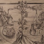 """""""Diptychon der Gerechtigkeit"""" (Zeichnungsstudie, Format 21x29cm"""