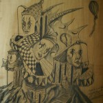 """""""Die sagenhafte Stadt"""" – Studie zum Bild (Zeichnung, Format 66x71cm"""