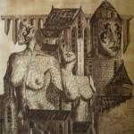 """""""Die drei Musen"""" (Zeichnung, Format 50x50cm"""