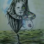 """""""Narodziny czasu""""- studium do obrazu (rysunek, format: 46x81 cm"""