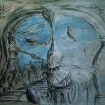 """""""Ostatnia strona starej baśni"""" (rysunek, format: 59x50 cm"""