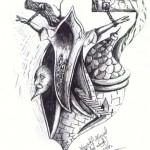 """""""Płonące miasto"""" (rysunek, format: 25x19 cm"""