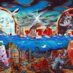 """""""Wojna Morskich Gigantów"""" - olej na płótnie format 120x220cm"""
